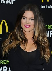 A bright fuchsia lip gave Khloe Kardashian a vibrant pop of color at the McDonald's Premium McWrap Launch Party.