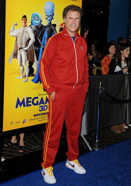 """Will Ferrell wore a red track suit with gold stripes to the premiere of """"Megamind."""""""