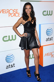 Jessica Lucas turned heads in the strapless leather mini dress that she wore to the Melrose Place Launch Party.