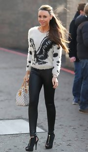 Michelle Heaton was seen at the London Studios in a sexy outfit -- a fur sweater, tight pants, and some foxy cutout boots.