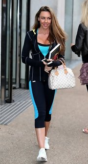 Michelle Heaton walked her way through London Studios wearing a fitted zip-up hoodie and leggings.