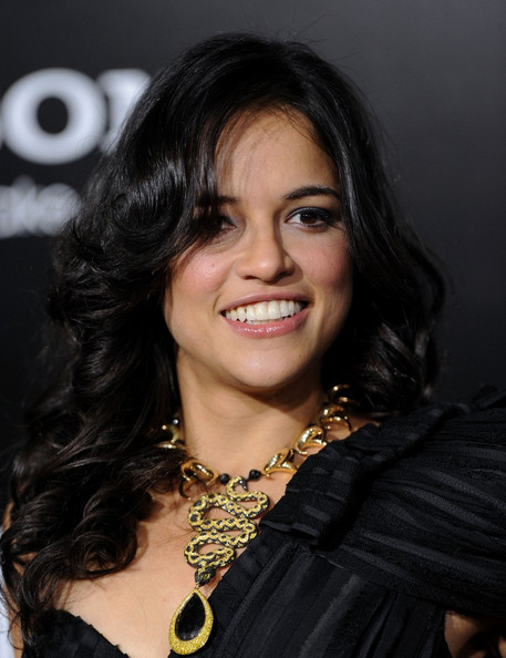 Michelle Rodriguez Black Statement Necklace