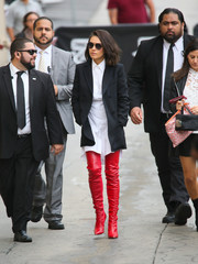 Mila Kunis donned a white high-low shirtdress by Fendi for her appearance on 'Jimmy Kimmel Live.'