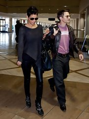 Halle Berry's leather leggings gave the actress a rocker edge especially when paired with a loose blouse.