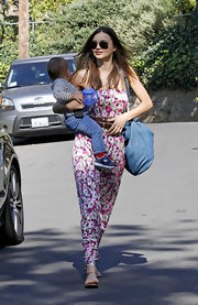 Miranda topped off her chic floral dress with silver sandals.