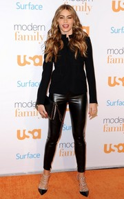 Sofia Vergara's black utility jacket was a tame contrast to her sexy skinnies.