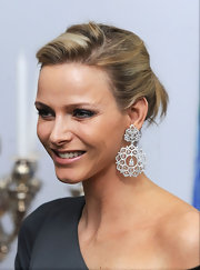 Charlene Wittstock attended a state dinner wearing elaborate diamond chandelier earrings.