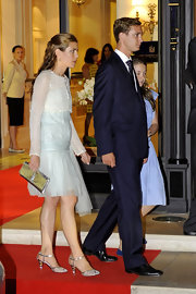 Charlotte Casiraghi opted for metallic-accented kitten heels to finish off her sparkling look.