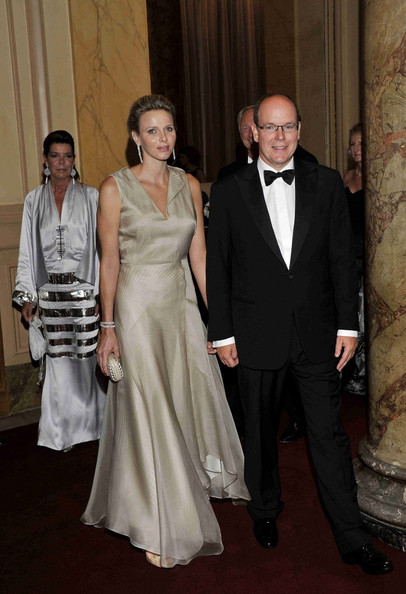 Charlene Wittstock wore a flowing champagne-colored gown at the world premiere of the Montblanc Collection Princess Grace de Monaco.