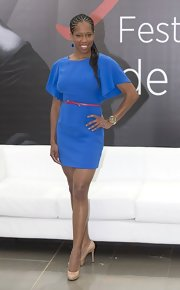 Regina King looked amazing at the Monte Carlo TV Festival in a cobalt mini dress with flutter sleeves. The red belt provided a nice color contrast, making the outfit so much chicer.