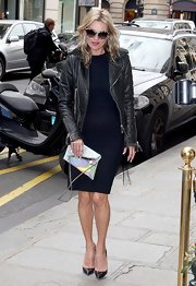 Kate Moss brought extra luxe to her LBD with a sleek moto-inspired jacket.