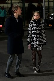 AnnaSophia Robb sported a stylish large-print houndstooth wool coat while filming 'The Carrie Diaries.'
