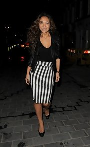 Myleene Klass chose an edgy leather jacket to top off her sleek look while out in London.