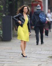 Myleene Klass added a cool leather jacket to her feminine frock for ax extra punk look.