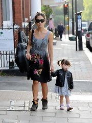Myleene Klass chose a floral-print skater dress for her casual daytime look while out with her daughter.