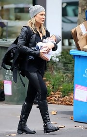 Natalie Bassingthwaighte was spotted wearing a pair of mid-calf leather boots.