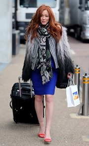 Natasha Hamilton kept warm while in London in this ombre fur coat.