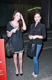 Alexis Neiers kept things casual in a pair of classic jeans and a black top.
