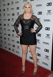 Hayley paired her sheer cut out dress with sparkling platform pumps.