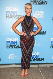 Katy Perry electrified in a chevron-patterned halter dress by Balmain at the opening of 'Dear Evan Hansen.'