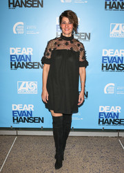Nia Vardalos looked adorable in a little black dress with a sheer, flower-appliqued yoke at the opening of 'Dear Evan Hansen.'