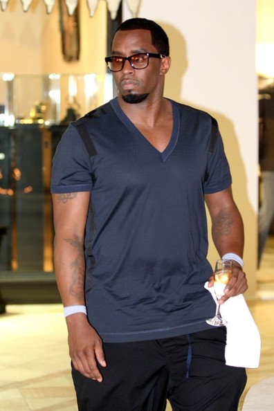 Sean Combs was casual in a gray V-neck tee and sweatpants while out shopping in Gustavia.