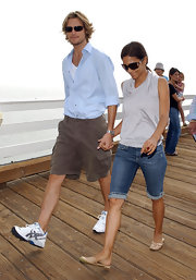 Gabriel Aubry was seen out at the Paddle Out Protest wearing a blue button down shirt and a pair of walking shorts.