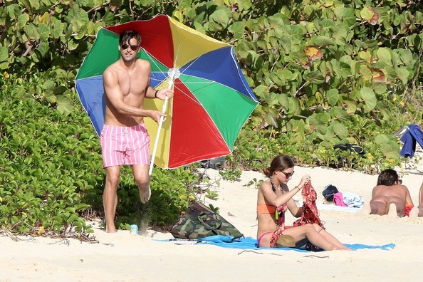 Johannes Hueble opted for color and pattern when he sported these pink striped trunks.