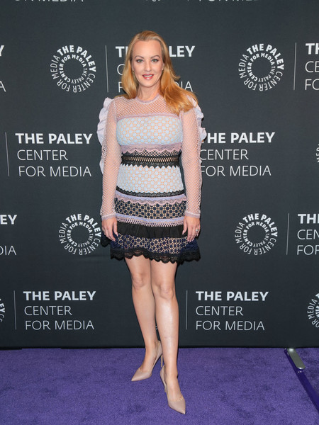 Wendi McLendon-Covey dolled up in a paneled lace mini dress for the 'Goldbergs' 100th episode celebration at the Paley Center for Media.