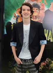 At the Los Angeles premiere of 'ParaNorman,'  Kodi Smit-McPhee wore a black tuxedo blazer with rolled-up sleeves, showing off a light-blue lining, over his gray-and-white top.
