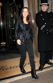 Pattie Mallette rocked a pair of sky-high black wedge boots for an edgy-chic vibe.