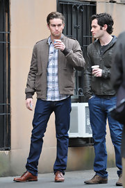 Chace dressed up his dark jeans and plaid shirt with a wool bomber jacket.