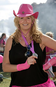 Penny Lancaster had cool blue sunnies in hand at the Pink Ribbon Walk.