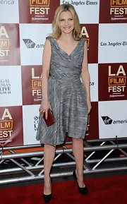 Michelle Pfeiffer's sleeveless gray gray dress at the 'People Like Us' premiere had a chic deconstructed feel.