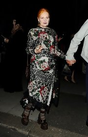 Vivienne Westwood looked demure and classy in her floral lace dress at the Phillip Treacy Show.