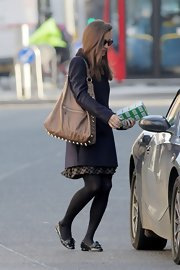 Pippa Middleton's studded shoulder bag added some edge to her polished look.