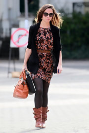 Pippa Middleton layered up for fall in an abstract print dress of autumn hues.