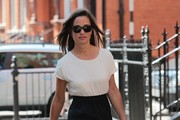 Pippa Middleton looks summery in a trio-coloured summer dress while running errands in Chelsea.