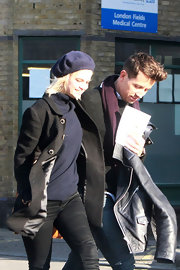 Pixie Geldof wore a navy beret while out with Nick Grimshaw.
