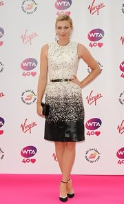 Maria Sharapova cut an elegant figure in a black-and-white speckled dress at the pre-Wimbledon party.