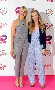 Cressida Bonas went for a modest look with a floral jumpsuit, made more formal with a sparkly jacket, at the pre-Wimbledon party.