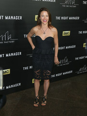 Scottie Thompson attended the premiere of 'The Night Manager' wearing a sexy strapless LBD with peplum detailing and a sheer hem.