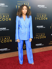 Ashley Madekwe looked smart in a bright blue pantsuit by Emilio Pucci at the premiere of 'The Last Tycoon.'