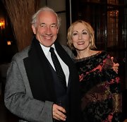 A classic dotted tie livened up Simon Callow's cocktail party look.