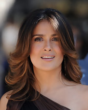 Salma Hayek wore a pale, sheer pink wash of lip color at the Los Angeles premiere of 'Puss in Boots.'