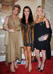 Kathy Hilton paired nude platform peep-toes with her gold dress at the QVC Style event.