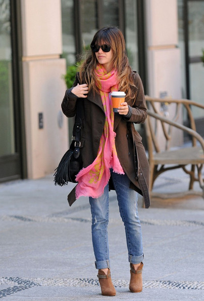 Rachel Bilson Patterned Scarf