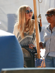 Rachel Zoe was hippie-chic wearing oversized round sunnies by Chloe while visiting Mr. Bones Pumpkin Patch.