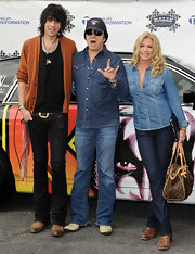 Shannon Tweed attended the Rally for Kids with Cancer wearing a denim button-down shirt.