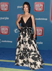 Ming-Na Wen made a glamorous entrance in a monochrome Jovani gown with a beaded bodice and a floral skirt at the premiere of 'Ralph Breaks the Internet.'
